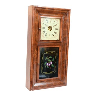 Ansonian Burled Walnut Case Wall Clock For Sale