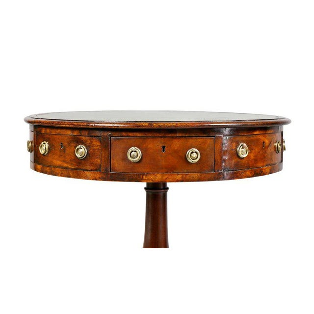 Hollywood Regency Regency Mahogany and Ebony Small Drum Table For Sale - Image 3 of 9