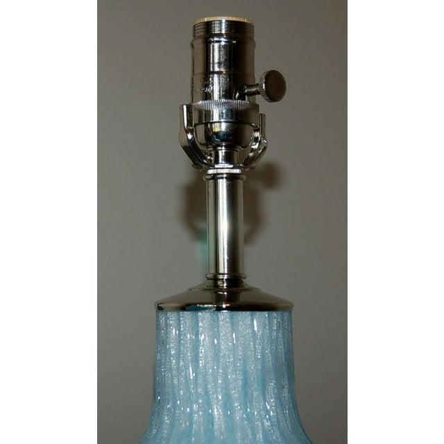 Brass Galliano Ferro Vintage Murano Glass Table Lamps Blue For Sale - Image 7 of 9