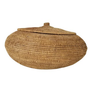 Vintage Boho Tropical Woven Rattan Basket / Vase For Sale