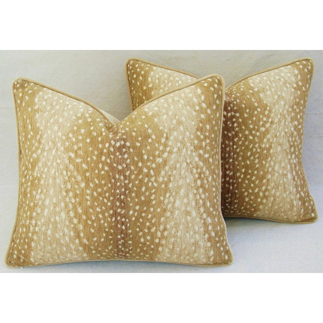 "Antelope Fawn Spot Velvet Feather/Down Pillows 21"" x 18"" - Pair For Sale - Image 15 of 15"