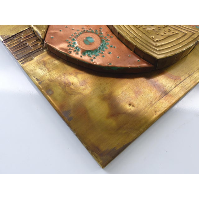 1970s Mixed Metals Sculptural Brutalist Wall Plaque For Sale - Image 5 of 10