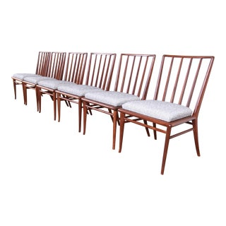 Robsjohn-Gibbings for Widdicomb Sculpted Walnut Dining Chairs, Fully Restored For Sale