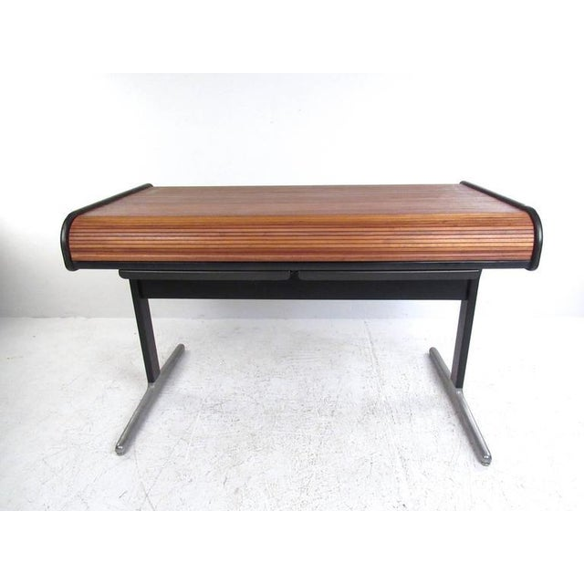 Herman Miller George Nelson for Herman Miller Mid-Century Tambour Roll-Top Desk For Sale - Image 4 of 9