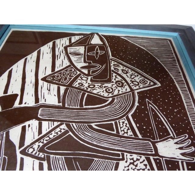 Original Mid Century Cubist Woodblock - Image 3 of 7