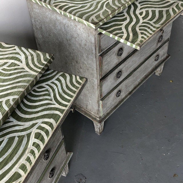 Pair of Catharine Warren Painted Swedish Chests A Get The Gusto signature. A pair of 1950's Swedish chests brought back to...