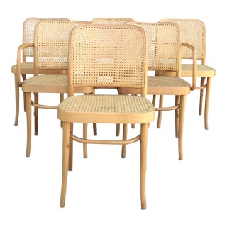 Josef Hoffmann Caned 811 Chairs Set of Six For Sale