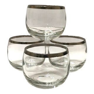 Mid-Century Barware Glass Set With Sterling Silver Overlay by Dorothy Thorpe For Sale