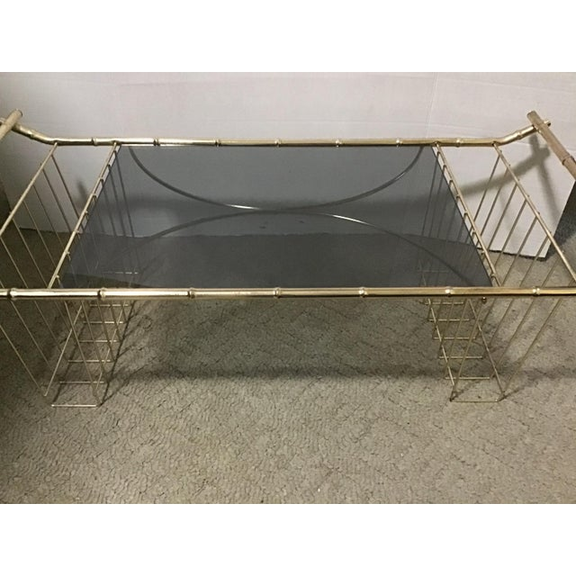 Maitland - Smith Mid-Century Faux Bamboo Brass Bed Tray Magazine Rack For Sale - Image 4 of 9