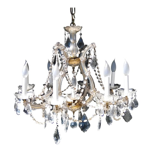 Vintage French Crystal 8 Light Chandelier - Image 1 of 7