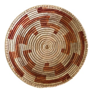 Vintage African Orange Hand Made Basket For Sale
