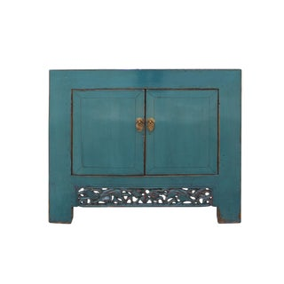 Chinese Distressed Rustic Teal Blue Foyer Console Table Cabinet For Sale