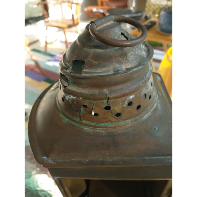 Mid 20th Century Copper Nautical Lanterns - a Pair For Sale - Image 10 of 13