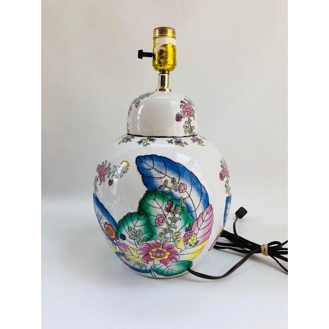 Vintage Tobacco Leaf Ginger Jar Table Lamp For Sale - Image 4 of 6