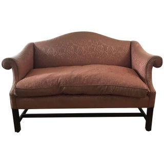 Small Scale Chippendale Style Mahogany Camelback Sofa Loveseat For Sale