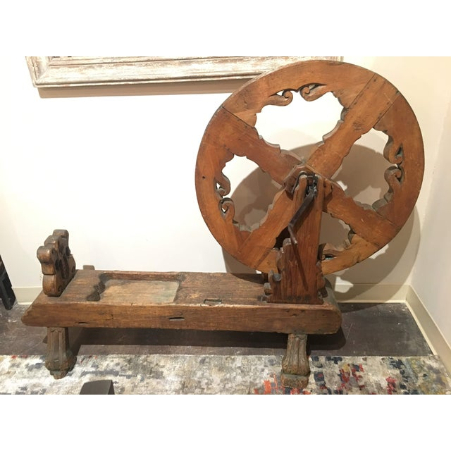 Antique Pine Spinning Wheel For Sale - Image 13 of 13