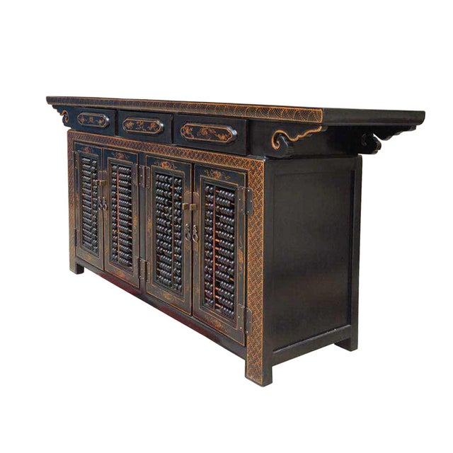 Dark Brown Rattan Top Abacus Accent Credenza - Image 2 of 6