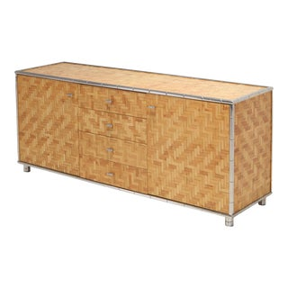 Bamboo Credenza With Faux Bamboo Chrome Frame Gabriella Crespi Style - 1970s For Sale