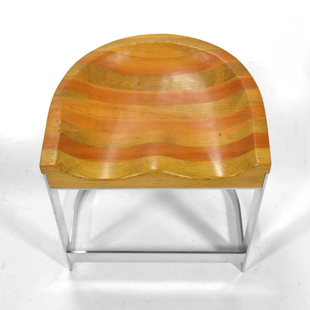 Chrome Warren Bacon Low Stool For Sale - Image 7 of 10