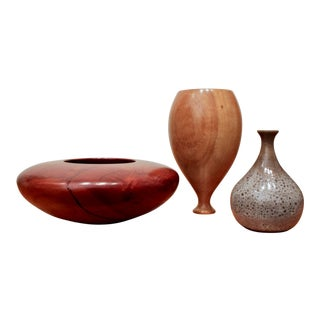 Turned Wood and Pottery Vessels / Vases, Set of 3 For Sale
