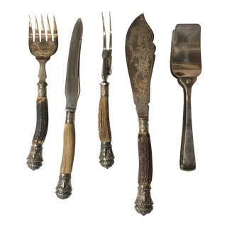 Antique Hand Chased Stag Horn Handles Cutlery - 5 Pieces Set For Sale