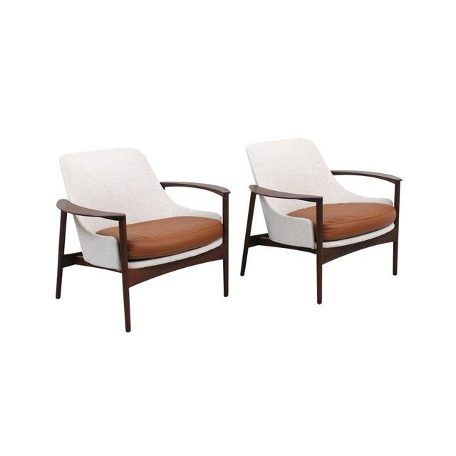 Danish Modern Kofod-Larsen for Selig Sculptural Walnut Lounge Chairs - a Pair For Sale - Image 3 of 13