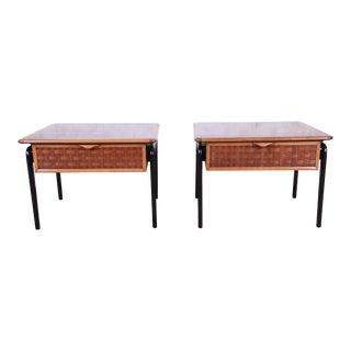Lane Perception Mid-Century Modern Walnut End Tables, Pair For Sale