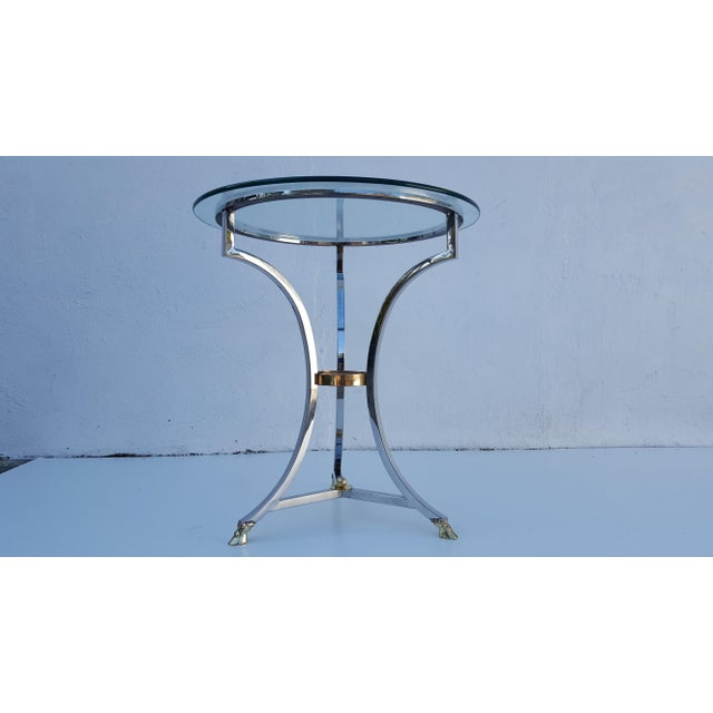 Maison Jansen Chrome and Solid Brass Hoot Foot Side Table For Sale - Image 4 of 9