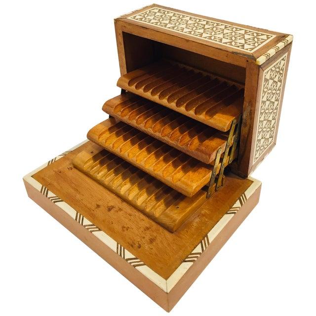 Vintage Moorish Spanish Granada Mother of Pearl Inlay Cigarettes Music Box For Sale - Image 13 of 13