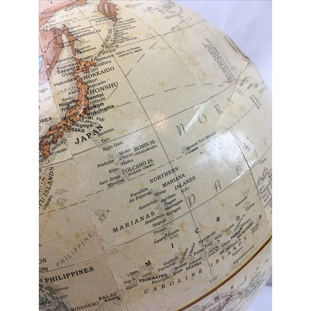 Terrestrial Globe with Orange Base For Sale In Miami - Image 6 of 6