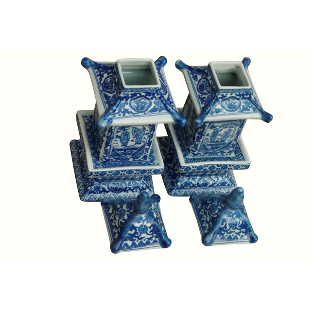 Asian Chinoiserie Blue & White Ceramic Pagoda Jars - a Pair For Sale - Image 3 of 7