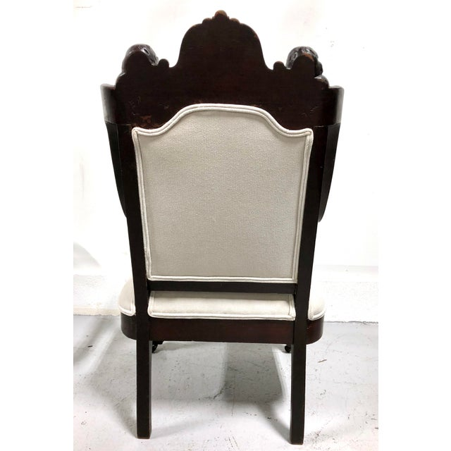 Wood 19th Century Antique French Renaissance Throne Armchair For Sale - Image 7 of 12
