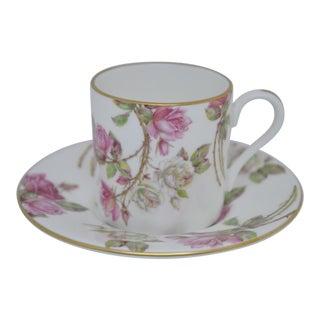 Aynsley Elizabeth Rose Demitasse Espresso Cup & Saucer For Sale