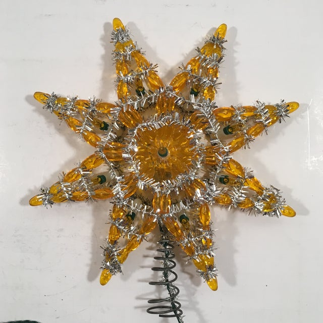 Vintage Silver & Yellow Light-Up Star Tree Topper - Image 3 of 7