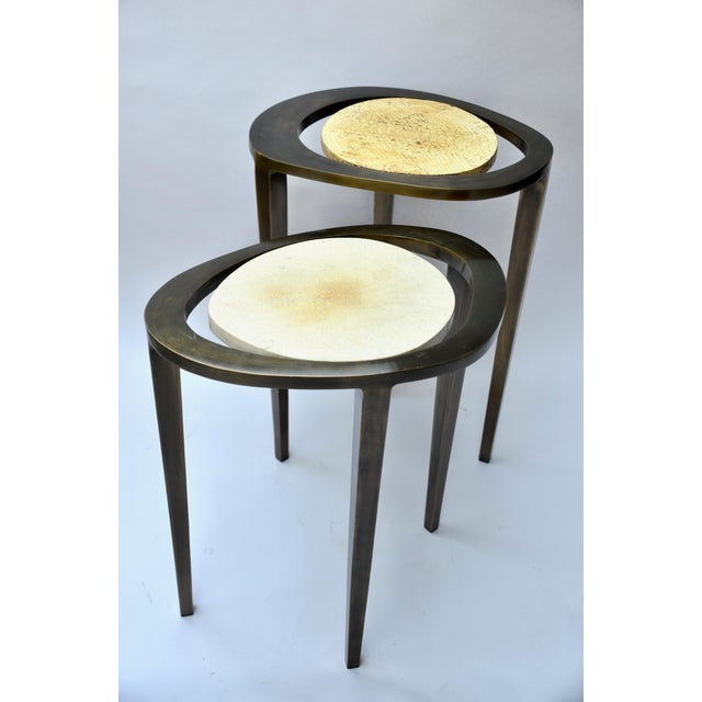 R & Y Augousti Bronze Nesting Side Tables - Image 3 of 10
