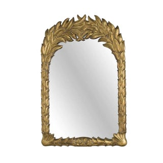 Paul Gold Leaf Mirror With Leaf Motif Frame For Sale