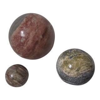 1960s Italian Marble Orbs, 3 For Sale