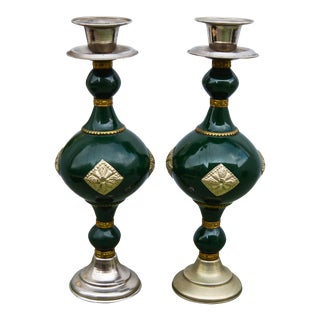 Handmade Moroccan Candleholders, S/2 For Sale