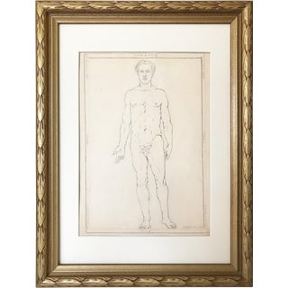 Antique 19th Century Neoclassical Drawing of a Greco Roman Male Nude For Sale