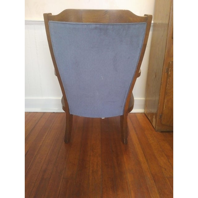 Boho Chic Mid-Century Wingback Blue Upholstered Caned/Cane Chair For Sale - Image 3 of 10