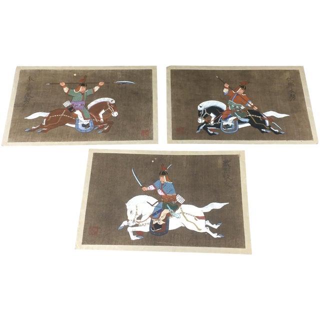 Antique Korean Silk Paintings - Set of 3 - Image 1 of 7