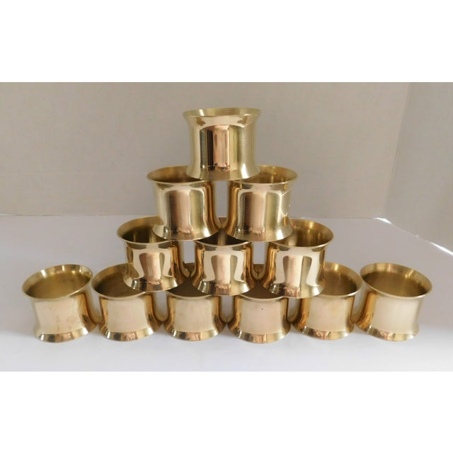 Solid Brass Vintage Napkin Rings - Set of 12 For Sale - Image 12 of 13