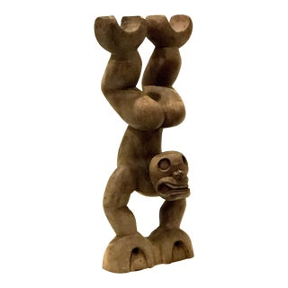 Hand Stand Wooden Statue For Sale