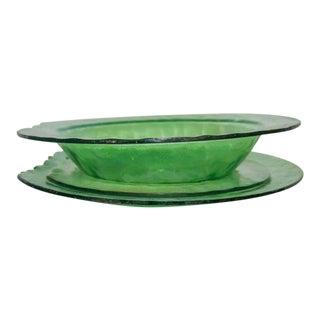 1991 Artisan Signed Green Glass Dinnerware - Set of 3 For Sale
