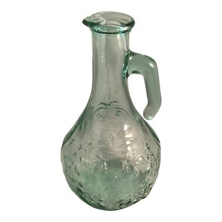 Embossed Floral Design Green Glass Jug For Sale