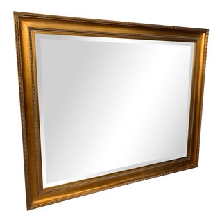 Oversized Gold Framed Beveled Glass Mirror For Sale