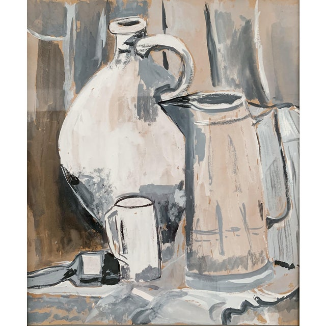 Modern 1970s Vintage Still Life Watercolor Painting For Sale - Image 3 of 4