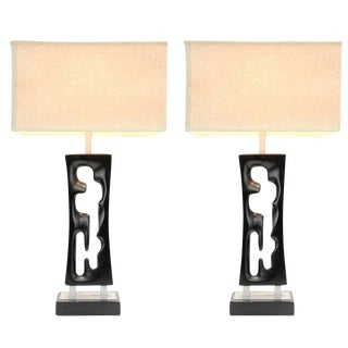 20th Century Design Studio Hand-Carved Lamps - a Pair For Sale