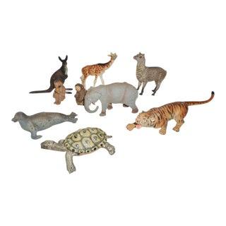 Antique 1930s German Composition Animals - Set of 9 For Sale