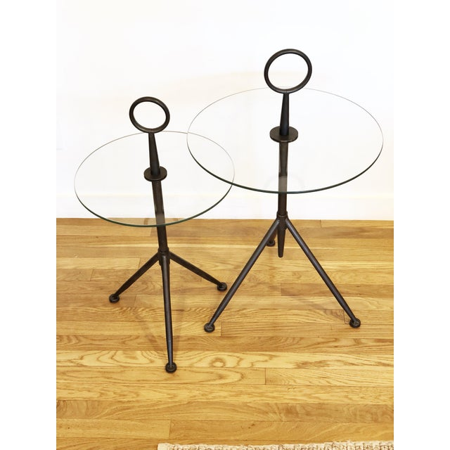 Vintage Metal Ring Glass Side Tables - A Pair - Image 5 of 8